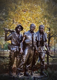 An addition to the Vietnam Veterans Memorial commissioned to appease opponents to The Wall's design.